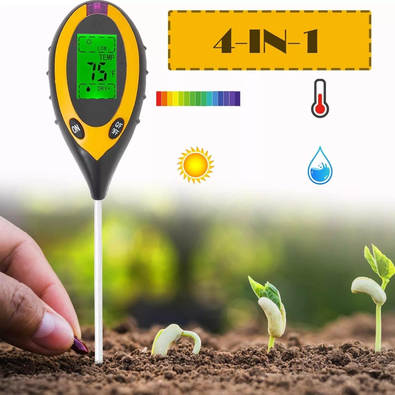 Soil PH Tester 3/4 In 1 PH Light Moisture Acidity Tester Soil Tester Moisture Meter Plant Soil Tester Kit for Flowers PH Sensor недорого