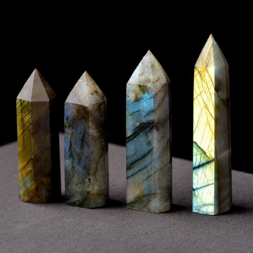 Columna Hexagonal de cristal Natural labradorita 4-5 cm1pc, ornamento de punto de cristal, varita sanadora Mineral, decoración para el hogar DIY, decoración de regalo