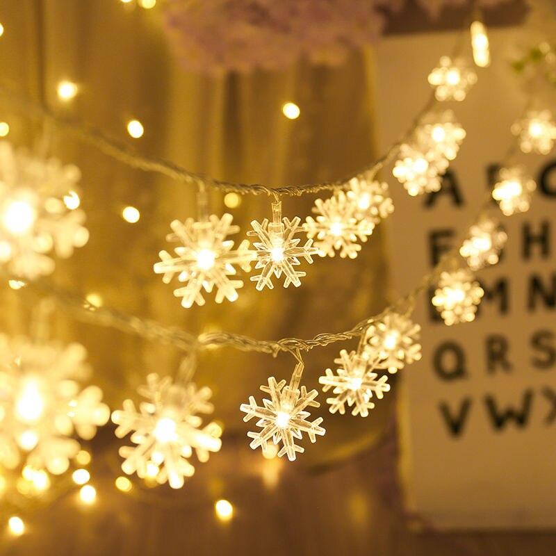 Гирлянда со 20 звездами, снежинками, мерцающие гирлянды, питание от батареи, USB, рождественские, праздничные, свадебные декоративные гирлянды