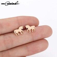 Cxwind Fashion Licorne Memory Stud Earrings Horse Cartoons Animal Unicorn Earrings for Women & Girls