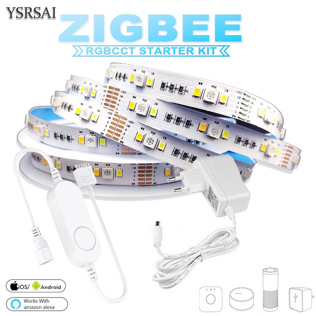 zigbee rgbcw mini controlador 1 5m dc12v 5050 rgb cct 90leds m led tira luz kit de