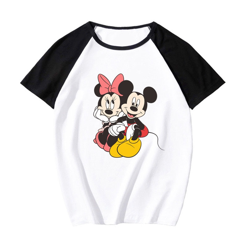 Disney mickey minnie mouse impressão t camisa feminina o-pescoço manga curta contraste cor camiseta harajuku topos feminino 2020 pokemon t