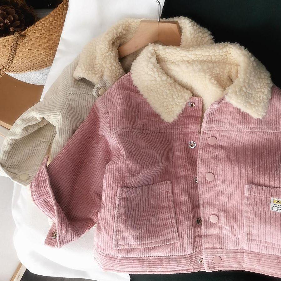 Детские зимние куртки для маленьких мальчиков и девочек, утепленные пальто из овечьей шерсти, Корейская Вельветовая теплая Двусторонняя куртка для малышей-2
