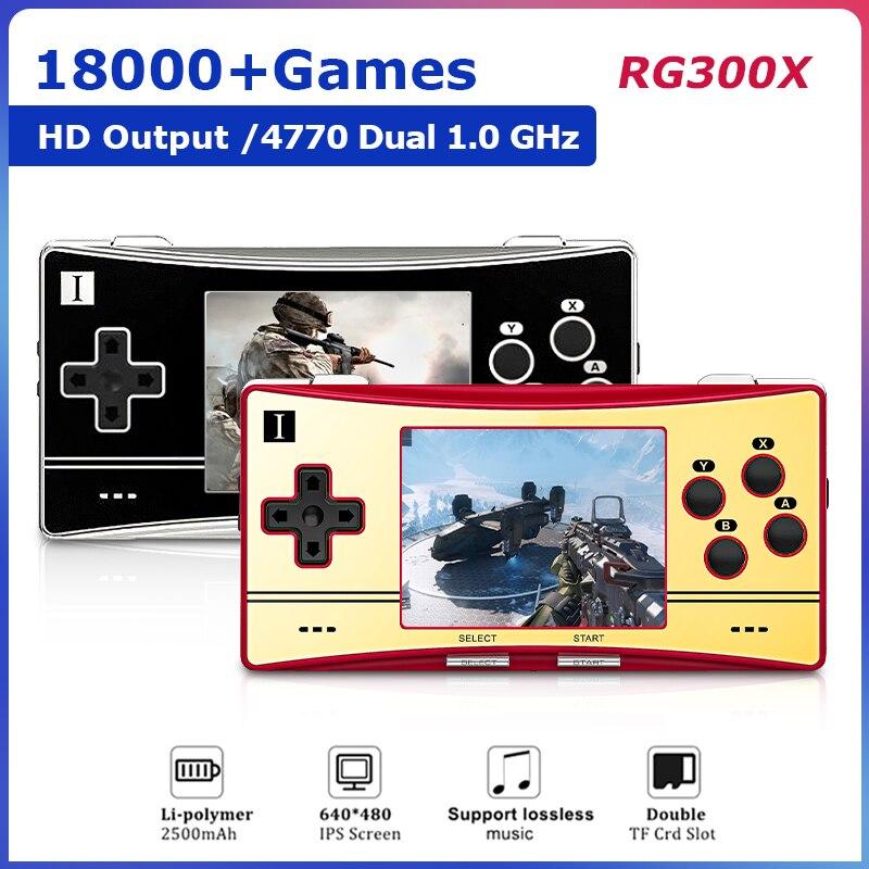 جديد كلاسيكي RG300X ريترو فيديو وحدة تحكم بجهاز لعب محمول مع 18000 + ألعاب HD الناتج دقيقة لعبة فيديو اللاعبين ل PS1/GBA/SFC/MD هدية