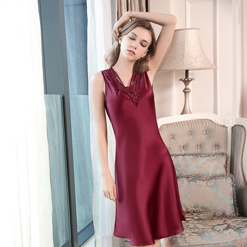 Women Silk Nighties For Women Summer Ladies 100% Silk Nightdress Sexy Sleeveless Sleepwear100% Mulberry Silk  RedNightgown