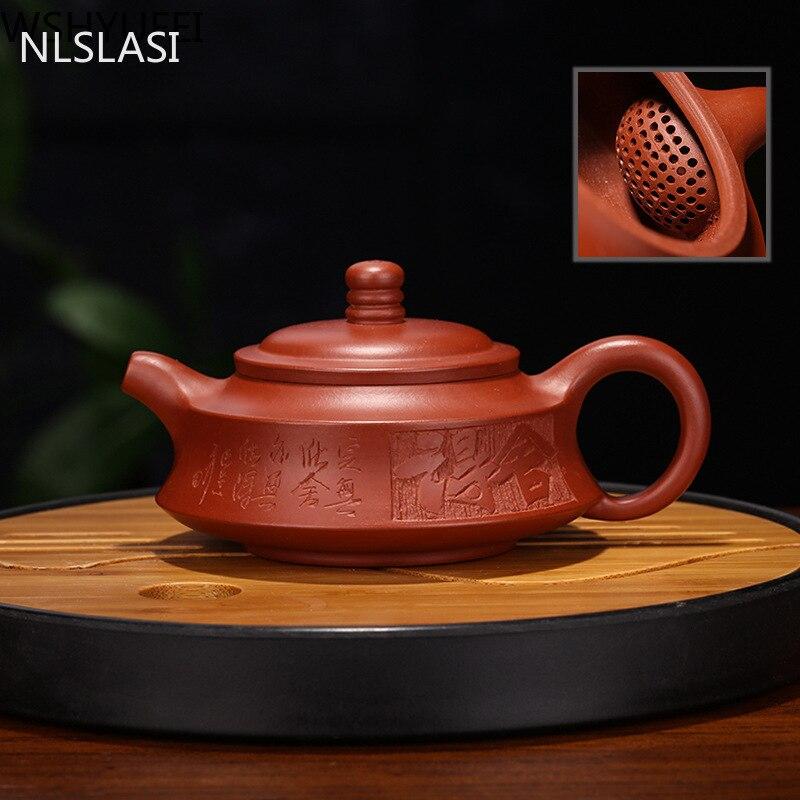 Zisha-إبريق شاي يدوي من حجر Dahongpao ، طقم شاي ، إبريق شاي Zhu Mu ، هدية منزلية أصلية