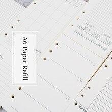 Recharge de papier A6 cahier à feuilles mobiles Journal de balle 45 feuilles à lintérieur du classeur Page intérieure 6 trous Doted grille hebdomadaire mensuel planificateur