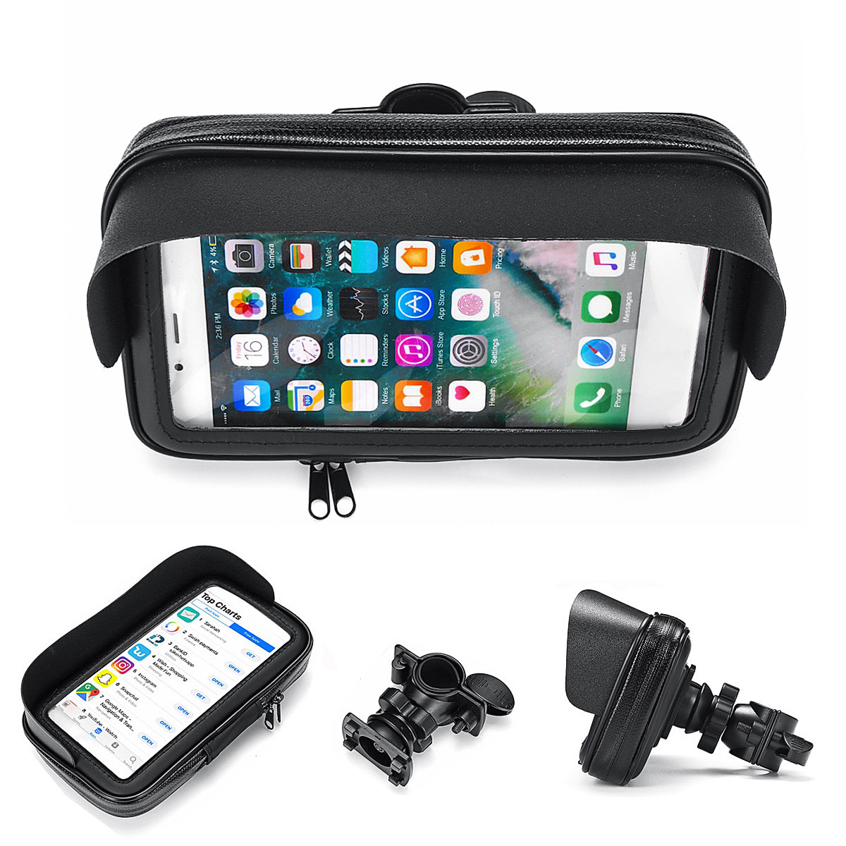 6.3inch Waterproof Bike Phone Holder MTB Bicycle Phone Bag Holder Pouch Motorcycle Mount for Samsung for iPhone for LG V20/Mate