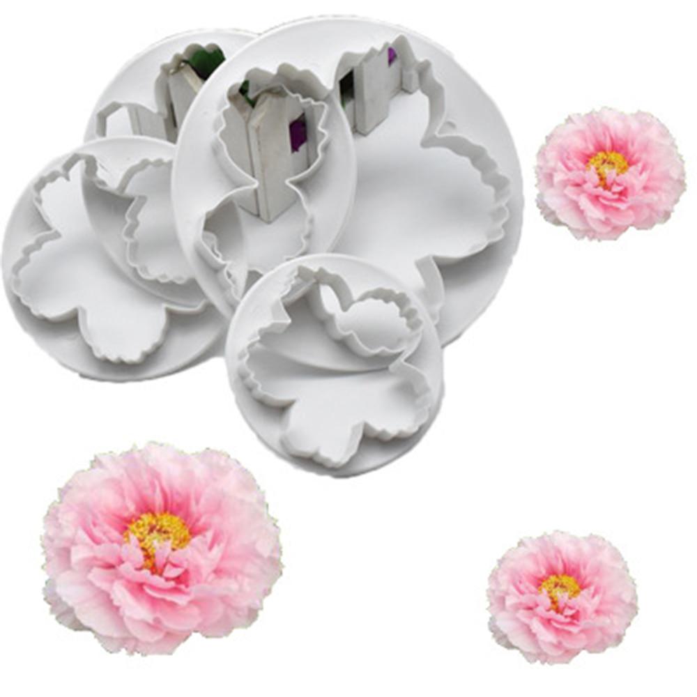 4 шт. Пион цветок Лепесток Форма резак помадка торт форма резак украшение сахарный Плунжер печенье резак инструмент для выпечки