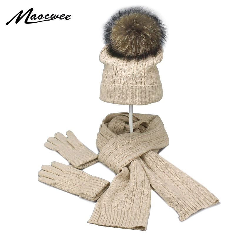 Real Fur Pompom Winter Knitted Hats For Women Hat Scarf Glove Set 3 Piece Sets Twist stripes Cap Gorros Bonnet Beanie Skullies