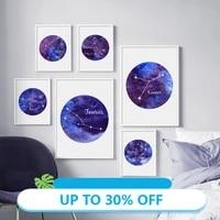 Affiches de peinture sur toile avec Constellation du zodiaque  ciel etoile  tableau dart mural pour decoration de salon  decoration de maison