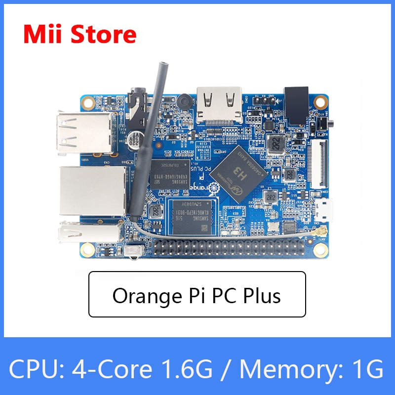 Orange Pi PC Plus لوحة تطوير RAM 1G مع 8GB Emmc Flash ، لوحة واحدة مفتوحة المصدر صغيرة ، ودعم منفذ إيثرنت 100M/واي فاي