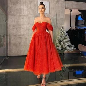 Red Prom Dresses A-line Off The Shoulder Tea Length Sequins Dubai Saudi Arabic Robe De Soiree Short Prom Gown Evening Dresses
