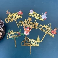 merry christmas family party acrylic gold cake toppers decorations santa claus elk snowman tree happy new year baking supplies