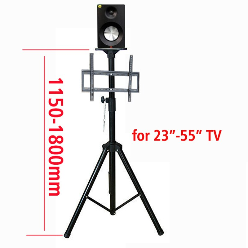 "DL-PS602 14""-55"" height adjustable 50kg tilt LCD PLASMA tv floor tripod stand VESA 400X400 panel holder with speaker tray"