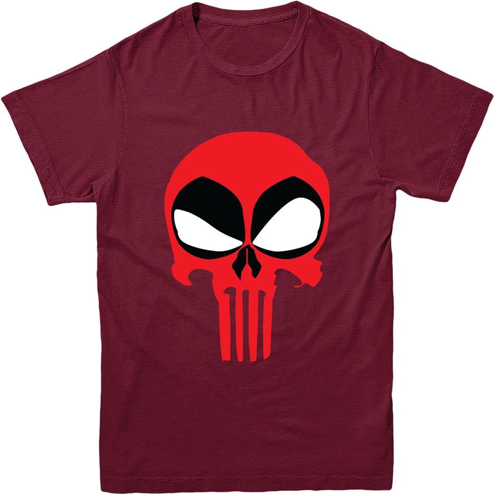 Camiseta de Deadpool, camiseta de calavera de castigador, diseño inspirado Camiseta de cuello redondo