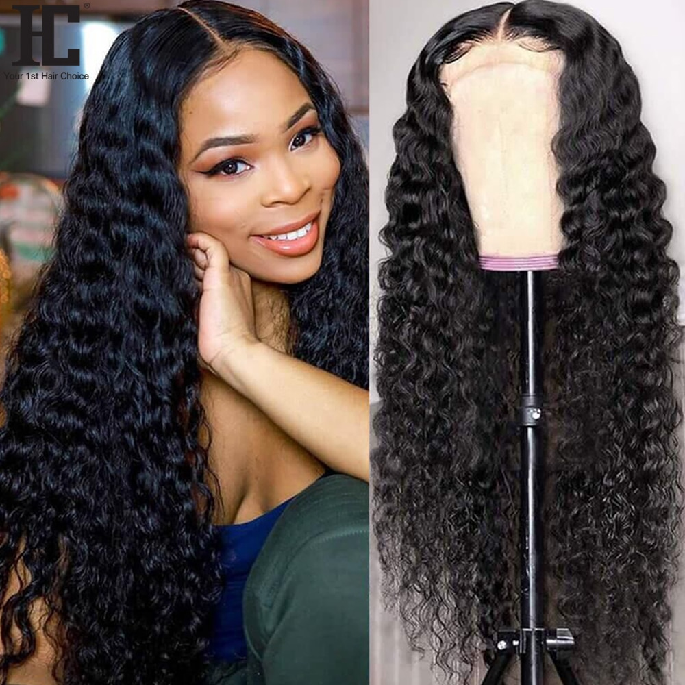"""30"""" 13x4 Lace Front Human Hair Wigs Brazilian Deep Wave Curly Wig Pre Plucked Glueless Remy 4x4 Lace Closure Frontal Wig 150%"""