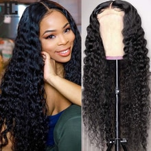 Brazilian Deep Wave Curly Wig 13x4 Lace Front Human Hair Wigs Pre Plucked Glueless Remy 4x4 Lace Clo