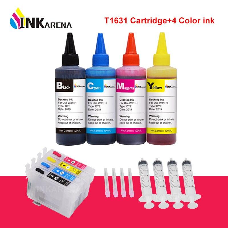 INKARENA 4 botella de tinta + T1631 T1621 T16 XL tinta de impresora cartucho Compatible con Epson 16XL 16 fuerza 2630WF 2650DWF 2660DWF