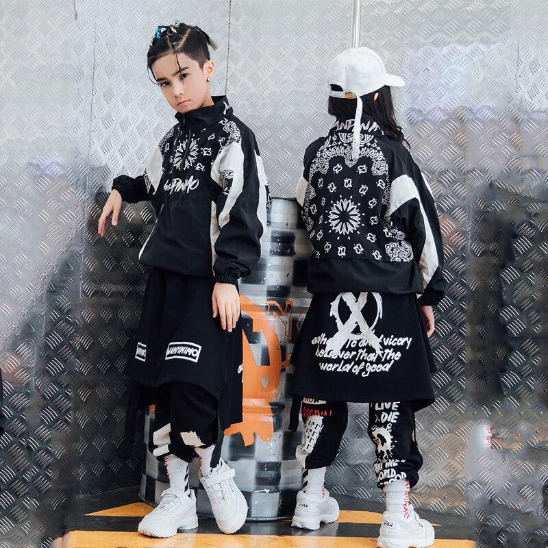 Hip Hop traje de baile para Jazz disfraces niños Street Dance ropa niñas chaqueta pantalones niños espectáculo de escenario traje de baile ropa