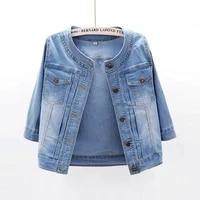 light blue elasticity slim o neck three quarter sleeve denim jacket coat women autumn korean outerwear short jeans jacket female