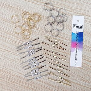 Camal 100pcs Pin Connector 11mm Ring/ 33mm Bowtie Pin for Octagonal Bead Crystal Pendent Prisms Hanging Connecting Lamp Parts