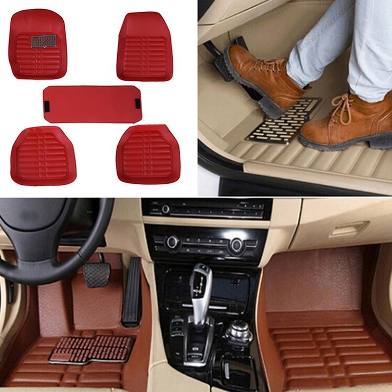 5Pcs/set Universal Car Auto Floor Mats Floor Liner Pu Leather Carpets
