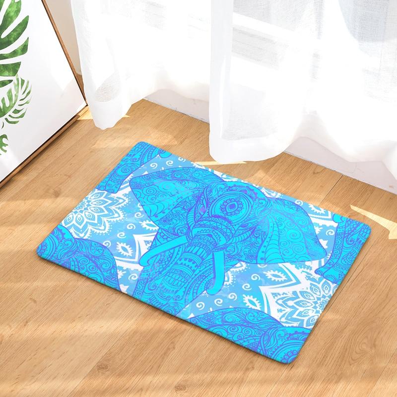 Cartoon Style Elephant Print Welcome Home Entrance Doormat Decorative Bedroom Carpet Non Slip Bathroom Rug Flannel Kitchen Mat