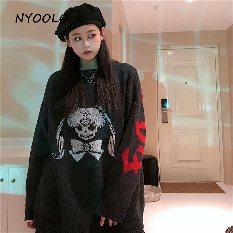 Nyool Casual street Spoof cartoon Sailor Moon letters Jacquard warm sweater Otoño Invierno suelto cuello redondo suéter Mujer