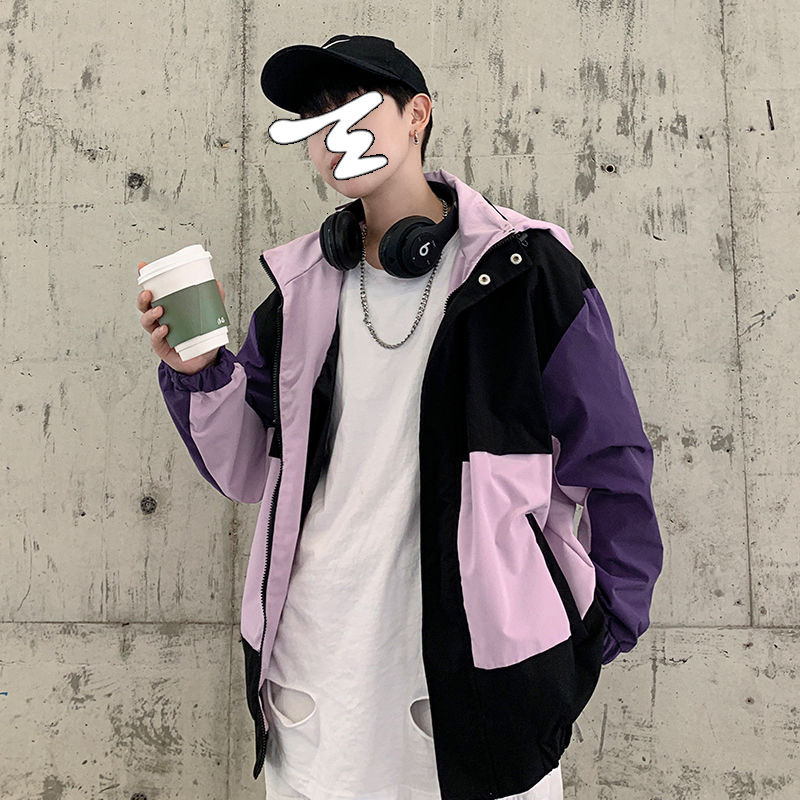 Spring Hooded Jacket Mens Fashion Contrast Color Casual Jackets Streetwear Korean Loose Hip-hop Bomber Men