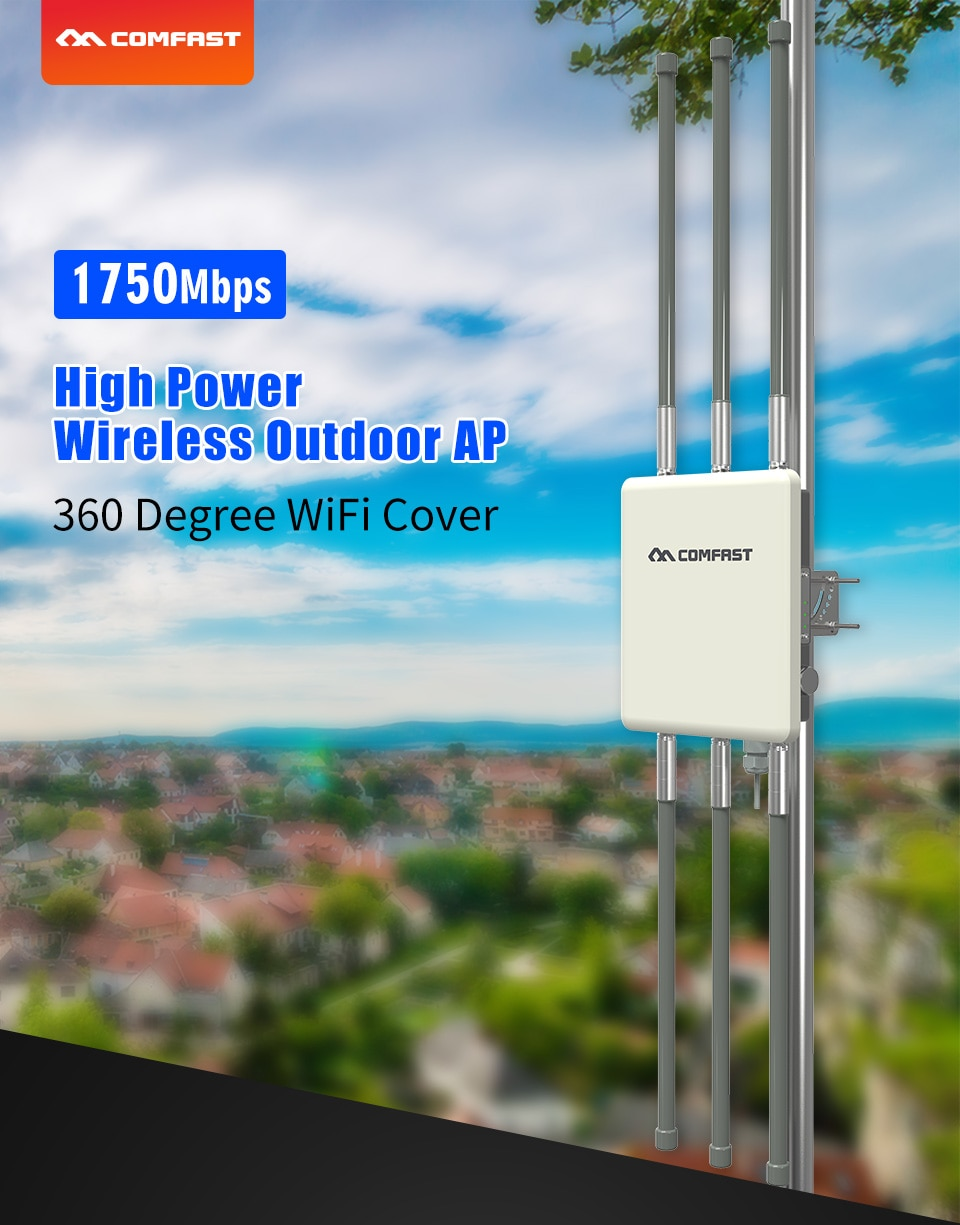 Punto de acceso inalámbrico para exterior COMFAST CF-WA900 V2 1750Mbps doble banda...