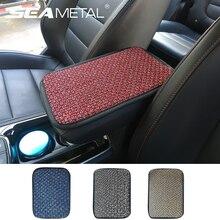 Car Armrest Cover Linen Mat Universal Car Arm Rest Cushion Anti Slip Armrest Pad Protector Comfortable Interior Car Accessories