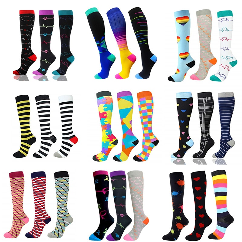 3 Pairs/Pack Compression Socks Women Men Knee High 30 MmHg Sports Socks Edema Diabetes Varicose Veins Running Socks Size S/M