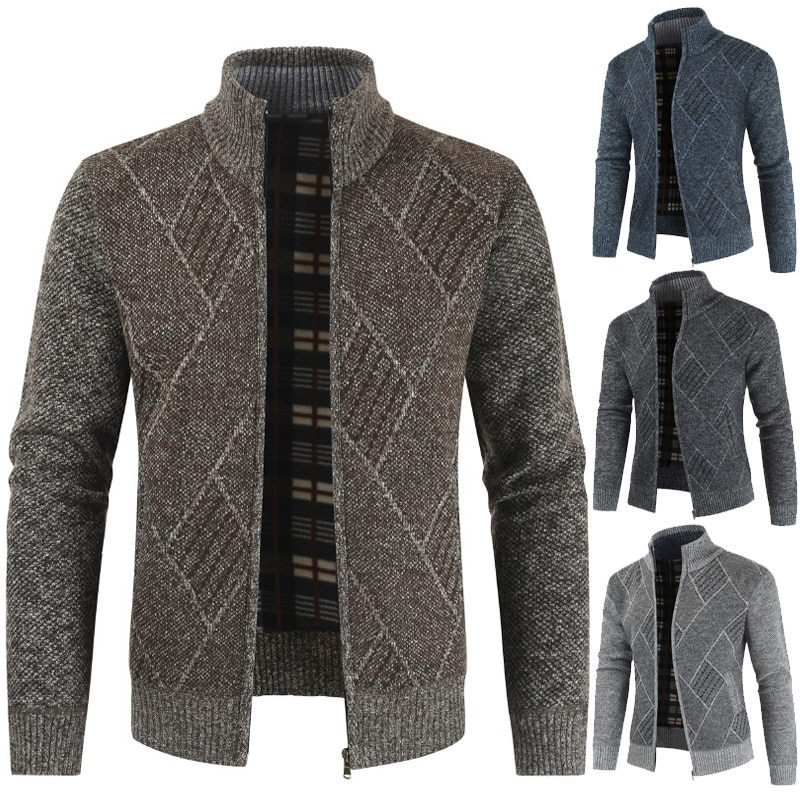 2021 Men's Cardigan Winter Thick Business Casual Sweater Coat Men Slim Fit Knitted Outwear Plaid Warm Sweater Jumper Men Cloth