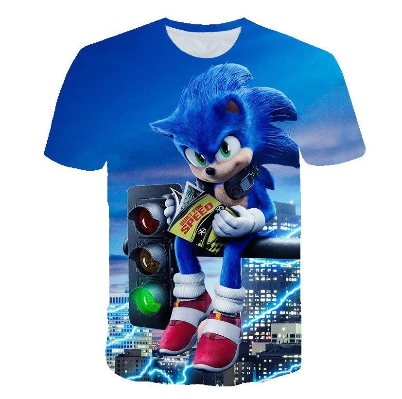 Camiseta para niños de Mario sonic, con estampado en 3D de dibujos animados, ropa para niños, verano 2020, ropa para niños, camiseta