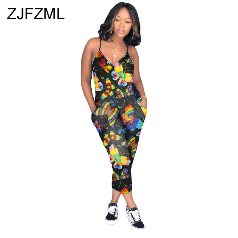 Spaghetti Strap Summer One Piece Overalls Women Butterfly Floral Print Club Party Jumpsuit Vintage Sleeveless Open Back Rompers