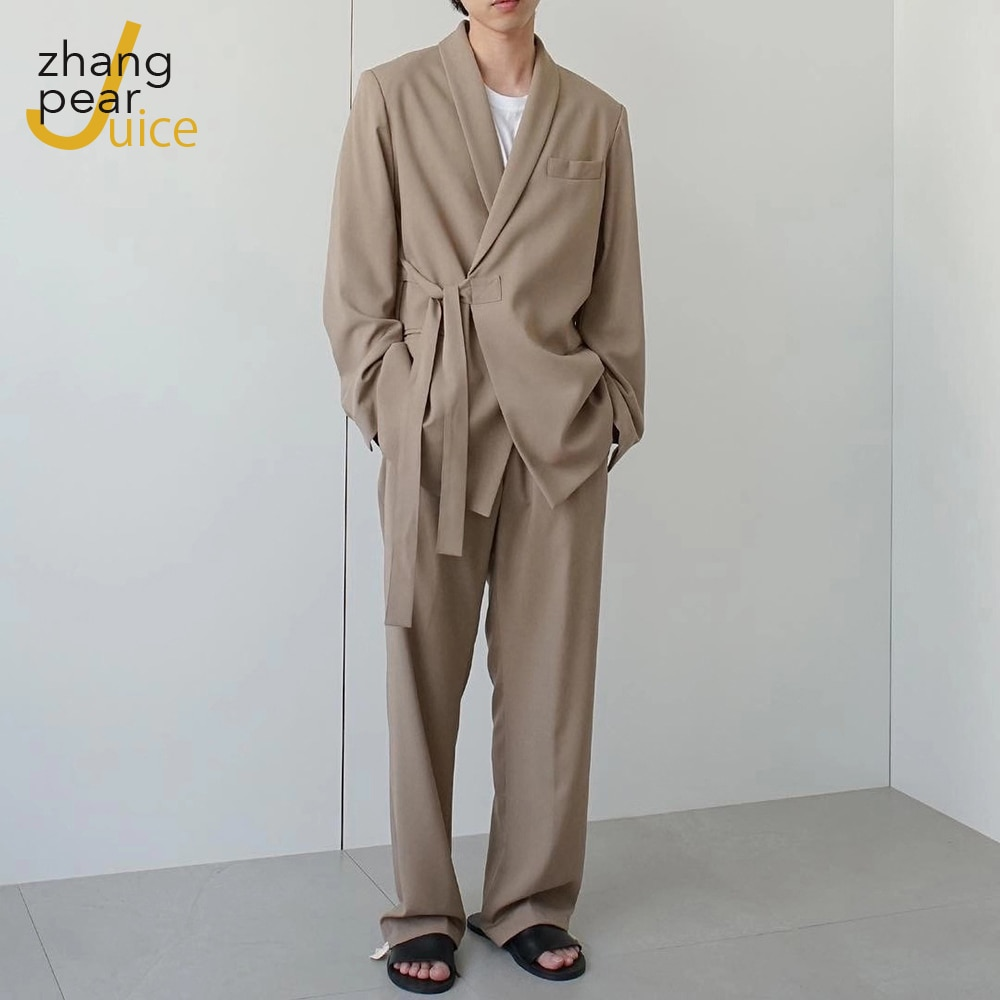 Дизайнерский мужской блейзер с лацканами, костюмы на заказ, мужской повседневный Блейзер, мужской красивый пиджак + широкие брюки