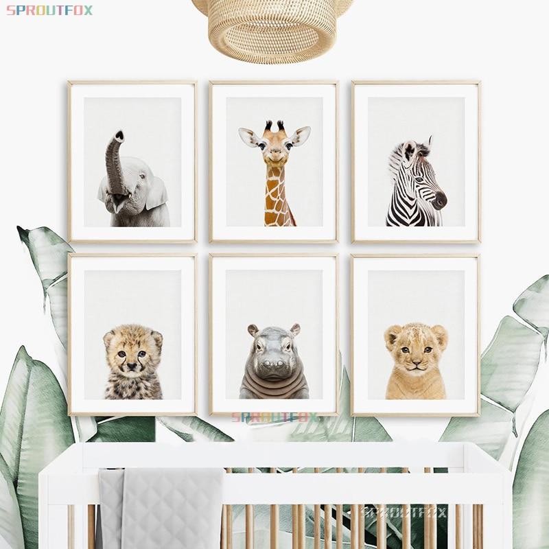 плакаты на стену Детская комната животные настенные постеры Декор слон стены художественные принты постеры на стену постер холст постеры Д...