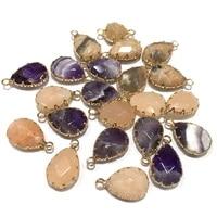 natural stone agates pendants water drop shape exquisite pendant diy elegant necklace accessories jewelry making size14x22mm