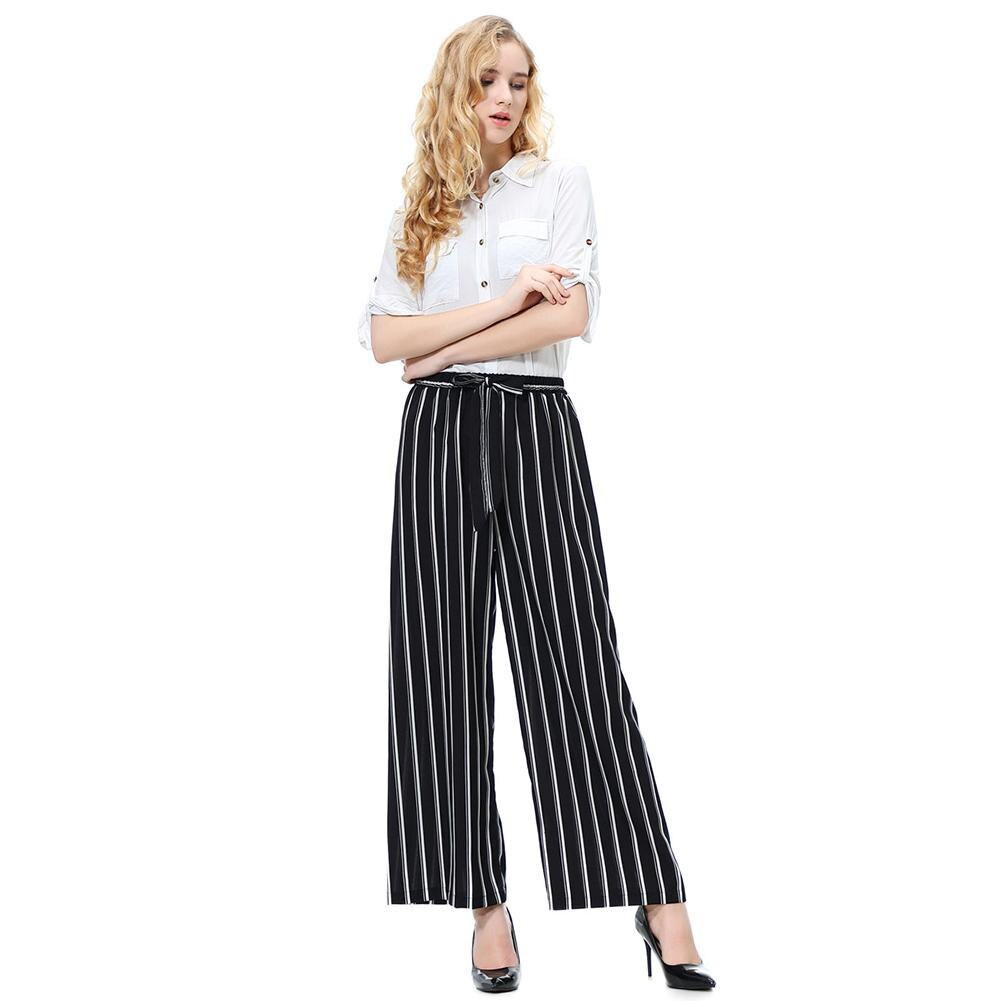 2020 Women wide leg pants Summer Autumn Casual Women Solid Color/Striped Drawstring Wide Leg Trousers Loose Long woman pants