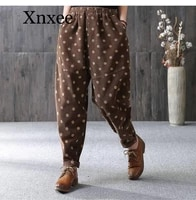 winter autumn new arrival women elastic waist dot print corduroy harem pants all matched casual loose pants plus size trousers