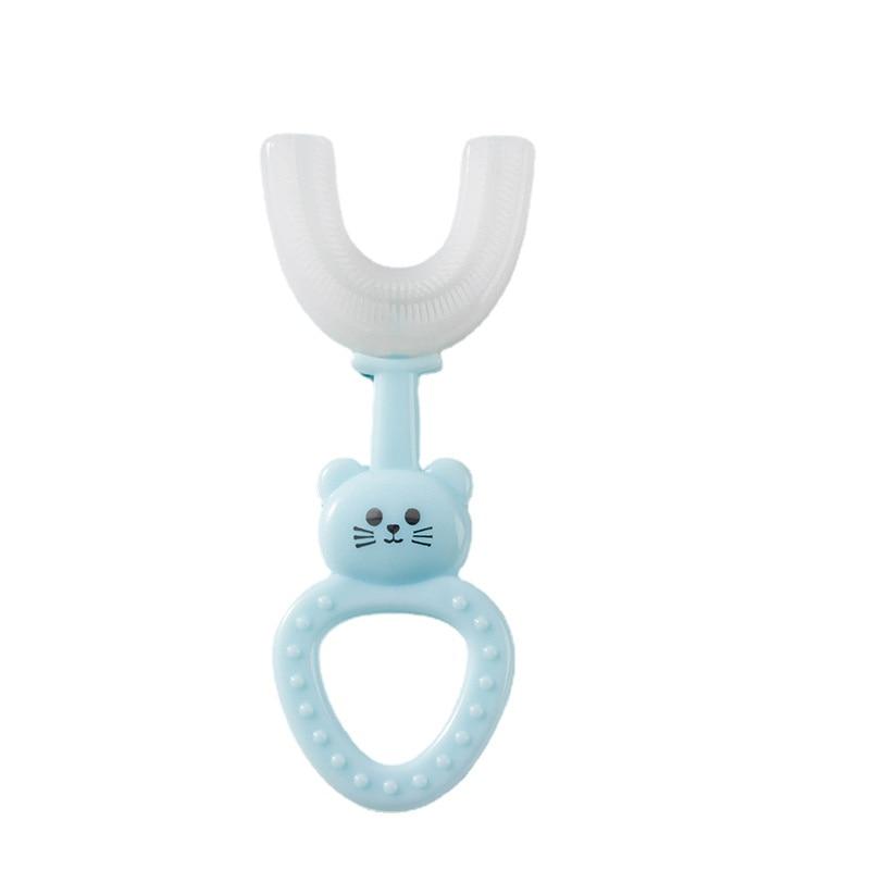 Przytulność dzieci w kształcie litery U szczoteczka do zębów Food Grade silikonowe miękkie włosie szczoteczki do zębów niemowlę pielęgnacja jamy ustnej trening kształt kreskówki