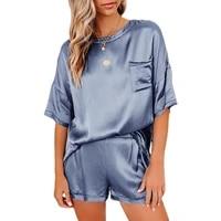 2021 spring and summer new solid color women pajamas home service short sleeved shorts irregular pajamas set 12 colors 4 yards