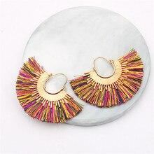 CRLEY marque bijoux géométrique secteur forme gland boucles doreilles pour femmes bijoux ethnique fait à la main à la mode coton corde boucles doreilles