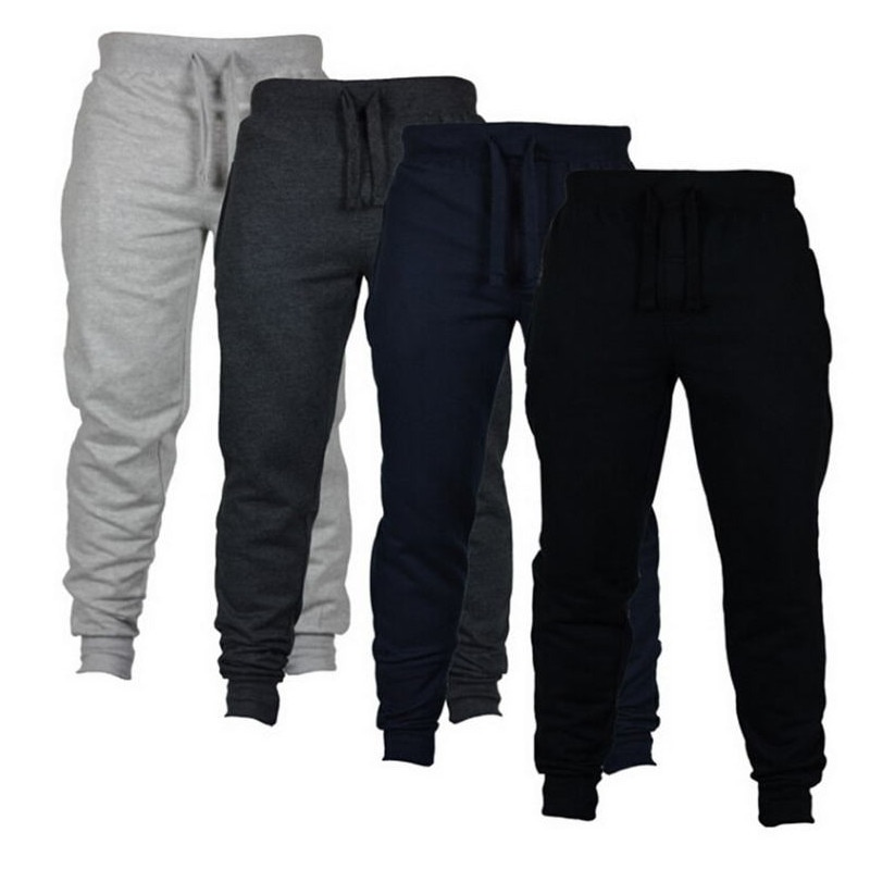 Mens Joggers Casual Pants Fitness Men Sportswear Tracksuit Bottoms Skinny Sweatpants Trousers Black