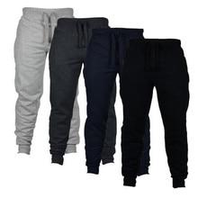 Mens Joggers Casual Pants Fitness Men Sportswear Tracksuit Bottoms Skinny Sweatpants Trousers Black