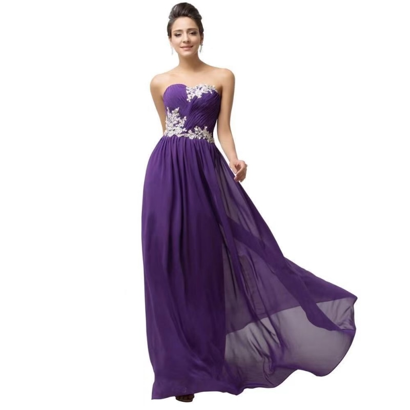 2021 Sweetheart Strapless Chiffon Sleeveless A-Line Backless Floor Length Evening Dress Party Dress Backless Prom Dress