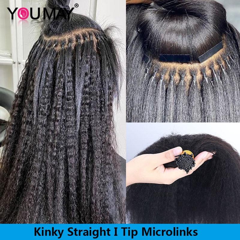 Kinky Straight Microlinks I Tip Hair Extensions For Black Women Human Hair Bundles Weave Bulk Coarse