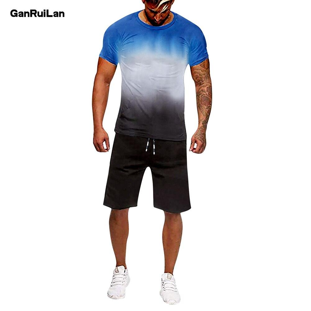 Hombre Casual chándal de verano de fútbol conjunto para hombre Fitness traje...
