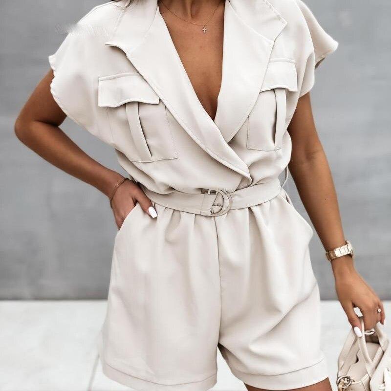 2021New Fashion Notched Short Sleeve Ladies Jumpsuits Jumpsuits Women Wide Leg Jumpsuit Women Adjustable Waist Female Suit